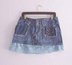 Studded Denim Mini Skirt/ Eco Fashion UpCycled by KheGreen on Etsy, $32.00
