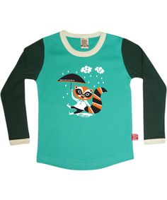 Retro-Rock-and-Robots adorable mintgreen t-shirt with lovely raccoon. retro-rock-and-robots.en.emilea.be