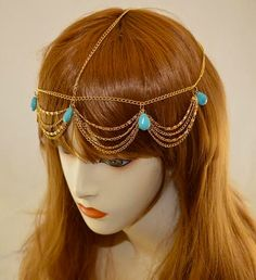 Gold Chain Layered Headpiece with Turquoise by crownedartcreations