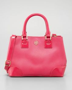 Tory Burch - Robinson Mini Square Tote Bag, Pink - http://womenspin.com/handbags/tory-burch-robinson-mini-square-tote-bag-pink/