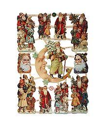 Santa, Moon & Children Scraps ~ Germany