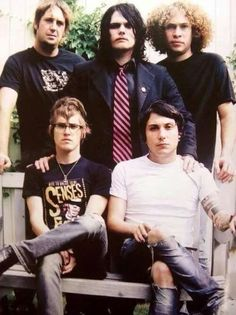 A picture from the beginning second row from left Matt Pelisser, Gerard Way, Ray Toro, Mikey Way, and Frank Iero