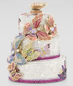 Cake Minaudiere Butterfly Cake Minaudiere by Judith Leiber at Neiman Marcus.Fall Cake Minaudiere by Judith Leiber at Neiman Marcus. Gorgeous Cakes, Pretty Cakes, Amazing Cakes, Beaded Purses, Beaded Bags, Judith Leiber, Butterfly Cakes, Butterflies, Pink Butterfly