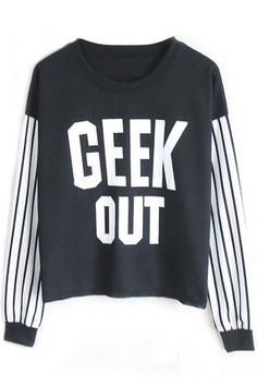 Geek Striped Cropped Sweatshirt