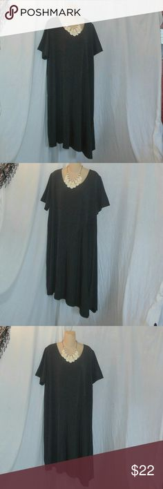 Lane Bryant Charcoal Asymmetrical Dress Sz 22/24 Up for your consideration is an asymmetrical style dress made by Lane Bryant in size 22/24. It is a nice dark charcoal and color. It flows nicely and hangs nicely. It is in excellent used condition. The length measurement on this dress is 50 inches long at its longest point  and 45 inches long at its shortest point. Make sure to browse my closet pick out another item, bundle them up to receive 10% off or more :-) Lane Bryant Dresses…