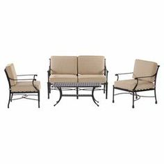 "A stylish addition to your patio or poolside deck, this delightful seating group set features 1 loveseat, 2 arm chairs, and 1 coffee table.  Product: 1 loveseat, 2 chairs and 1 coffee tableConstruction Material: Powder coated aluminumColor: Bronze  Features: Detailed casting of twisting vines and woven basket medallionFully-weldedRust-free frame  Dimensions: Coffee table: 19"" H x 21"" W x 42"" D Love seat: 33"" H x 32.75 "" W x 31"" D"