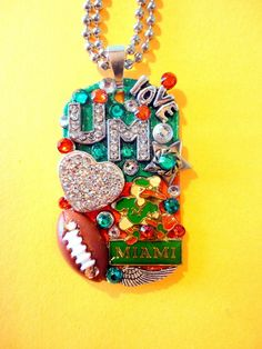 One Of A Kind BRADOS Bling University Of Miami Dog Tag Pendant. All pendants are made with Swarovski crystal rhinestones, modern and vintage charms, p