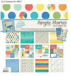 """Simple Stories SUMMER PARADISE Collection Kit 12""""  Cardstock Stickers Die-Cuts Alpha Polka Dots  Discontinued and Hard to Find by SeptemberPlayground on Etsy"""