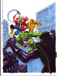 Avengers cover art with inks and color. By Bruce Timm