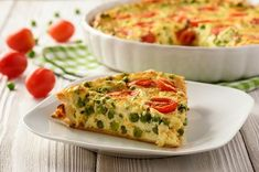 Quiche ohne Teig: Schnelles Rezept - ohne Mehl! Quiches, Salty Foods, Cake Recipes, Food And Drink, Veggies, Low Carb, Vegetarian, Vegan, Cooking