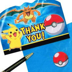 Pokemon 'Pikachu and Friends' Thank You Notes w/ Envelopes (8ct)