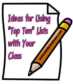 Lots of ideas for how to use Top 10 Lists with your students