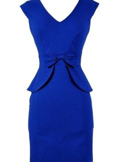 Royal Blue Peplum Pencil Dress with Bow Front Detail,  Dress, sleeveless dress  peplum dress, Chic