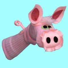 Handmade Pink Pig Sock Puppet por SockHollow en Etsy