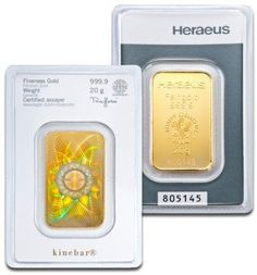New Heraeus 20g Kinebar Gold Bar Each bar weighs 20g of 999.9 Fine Gold. Each Gold bar comes packed in an assay card certifying the weight and Gold metal purity. Heraeus is an international company based near Frankfurt, Germany and is a leading brand in precious metals.   The obverse of this bar features the Heraeus logo, weight, fineness and serial number. The revese of the Kinebar features a Kinegram on the back of the bar, increasing security on each individual bar.