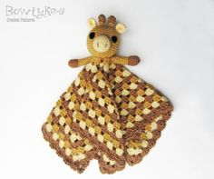 This adorable lovey (also known as a security blanket, blankey, or blankie) is sure to make your baby or toddler feel safe and loved. Use traditional giraffe colors or choose your child's favorite - either way this blanket is sure to turn out super cute! Baby Afghan Crochet, Knit Or Crochet, Crochet Gifts, Cute Crochet, Crochet Toys, Kids Crochet, Baby Security Blanket, Lovey Blanket, Quilt Patterns