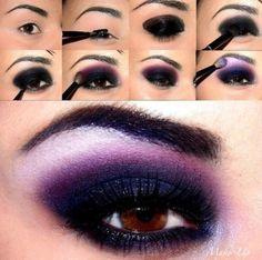 Smoky Eyes Makeup Tutorials- Purple and Silver