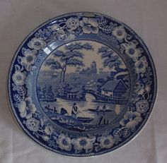 Staffordshire Antique Dark Blue Transferware Plate Wild Rose Border Fishing | eBay