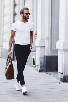 black cropped skinny chinos, white tee