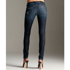 Genetic Denim Moon Stretch Worn & Torn 'Shane' Cig Skinny Leg Jeans ($26) ❤ liked on Polyvore