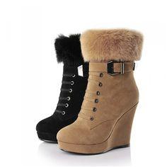 Женщин платформа клин сапоги дамы ботильоны зима с молнией заклепки осень туфли на каблуках черный 34 39 99A A0 купить на AliExpress
