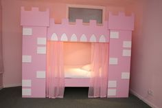 One of the smallest castle beds I've found. Probably the most practical. Big Girl Bedrooms, Little Girl Rooms, Girls Bedroom, Bedroom Decor, Bedroom Ideas, Bunk Beds With Stairs, Cool Bunk Beds, Frozen Room, Castle Bed