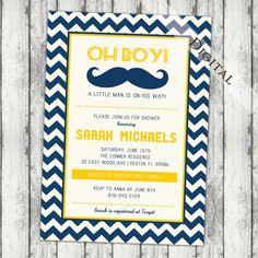 Baby boy shower invitation mustache chevron and by JoyInspiration, $13.00