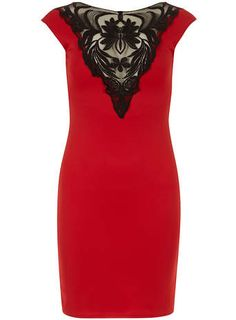 Jolie Moi Red Lace Front Dress | Dorothy Perkins