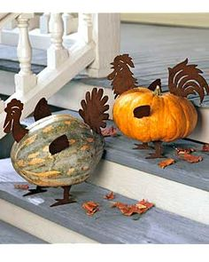 DIY :Cute way to make a turkey or rooster!