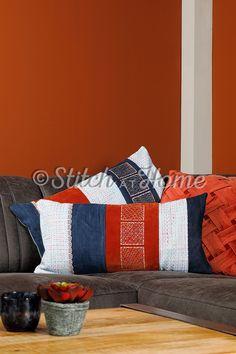 Geometrische kussens | borduren editie 73-2021 Dutch, Magazine, Throw Pillows, Quilts, Blanket, Bed, Home, Craft Work, Toss Pillows