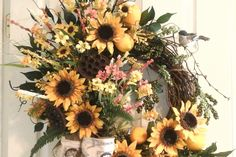 Summer Sunflower Wreath, FREE SHIPPING, Spring Grapevine Wreath, Fruit, Wildflower Wreath, French Country Burlap Wreath, Bird,  Wreath by GiftsByWhatABeautifu on Etsy