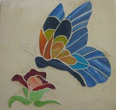 Nell's Butterfly 2/12/2011 Glass Painting Patterns, Stained Glass Patterns, Mosaic Patterns, Butterfly Mosaic, Glass Butterfly, Stained Glass Crafts, Faux Stained Glass, Easy Mosaic, Mosaic Art