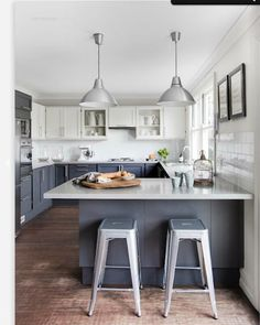 Grey and White Kitchen...I think I'd need some gold mixed in though