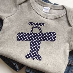 Size 1218 months  Navy Blue Polka Dot Airplane by veryKIKI on Etsy, $13.00