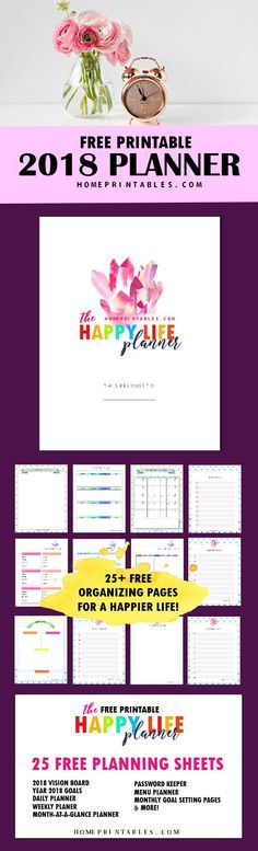 Download this amazing FREE planner 2018 printable and plan a wonderful new year! #2018planner #planner2018 #freeplanner