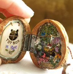 ||| miniature, house, doll, dollhouse, play, toy, clay, sculpture, faerie, fairy, gnome, garden, locket, hinge, walnut