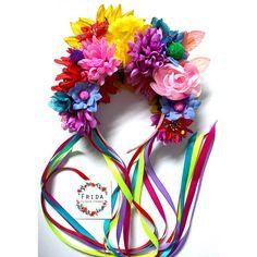 Sequin Sunflower Festival Flower Crown with Rainbow Ribbons & Pom Poms / headband / hairband Rainbow Ribbon, Rainbow Flowers, Boutique Bows, Flower Crafts, Flower Art, Corona Floral, Floral Headdress, Crown Hairstyles, Wedding Flowers
