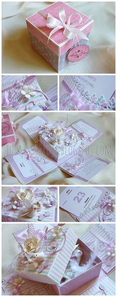 Moje zacisze: 187. Pudełko na ślub Diy Card Box, Pop Up Box Cards, Diy Box, Scrapbook Box, Scrapbooking, Exploding Box Card, Shabby Chic Cards, Magic Box, Wedding Boxes