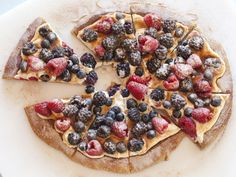 Sweet breakfast pizza with berries and mascarpone cheese: Giada De Laurentiis : Food photography by Jackie Alpers for the Food Network.