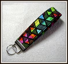 Artsy Fabric, Stained Glass, Modern Fabric, Modern, Fabric, Key Fob, Fabric Keychain, Keychain, OOAK KF-17 by ArtsyFunkyThreads on Etsy