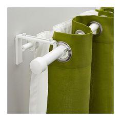 IKEA - RÄCKA/HUGAD, Gardinenstangenkomb. doppelt, Mit dem Set lassen sich 2 Gardinenlagen - sowohl feine als auch festere Materialien - aufhängen.In der Länge verstellbar.