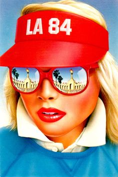 1984 Olympics Los Angeles postcard:  Pretty Blonde at Coliseum