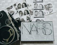 Black and White Flatlay Nars palette, Bolex camera