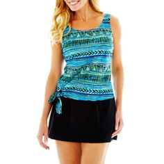 76dbf3ff97 Azul by Maxine of Hollywood Jogger Tankini Swim Top or Skirted Bottoms  found at @JCPenney