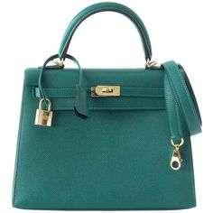 Preowned Hermes Kelly 28 Bag Sellier Malachite Gold Hardware Epsom ($22,750) ❤ liked on Polyvore featuring bags, handbags, multiple, real leather handbags, shoulder strap purses, pre owned purses, green leather handbag and 100 leather handbags