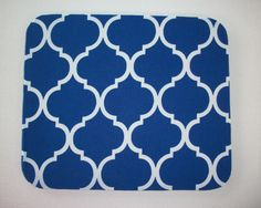 Mouse Pad mousepad / Mat - Rectangle or round - Trellis in royal blue office home decor coworker gift