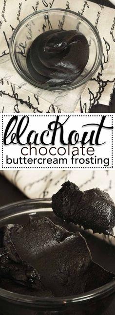 Blackout Chocolate Buttercream Frosting. The deepest, darkest, chocolate buttercream frosting ever! via /karascakes/ #halloweeenparty #halloweencakes #halloweenrecipes