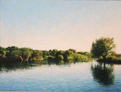 Walter Meyer - Gariep River with Willow Tree, oil on canvas Willow Tree, Paintings I Love, Tree Oil, How Beautiful, Acrylics, Oil On Canvas, River, Artwork, Outdoor