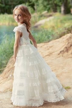 Lace tiered ball gown with cup sleeves from Papilio Kids Ceremony Collection Girls Dresses, Flower Girl Dresses, Flower Girls, Princess Dresses, Rose Wedding, Spring Wedding, Special Occasion Dresses, Baby Dress, Ball Gowns