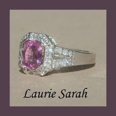 Pink Sapphire and Diamond Split Shank Ring by Laurie Sarah Designs on Etsy.
